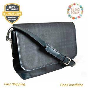 💯Burberry crossbody bag black blue leather canvas